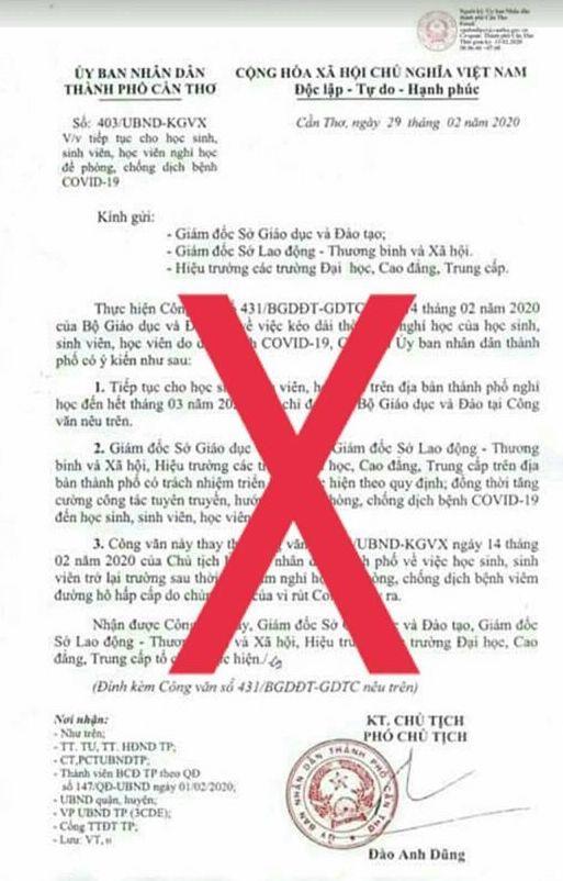 Điều tra vụ giả mạo công văn Cần Thơ cho học sinh nghỉ hết tháng 3