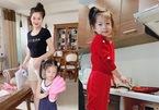 Con gái 3 tuổi nấu ăn, rửa bát thành thạo của MC, Á hậu Diễm Trang