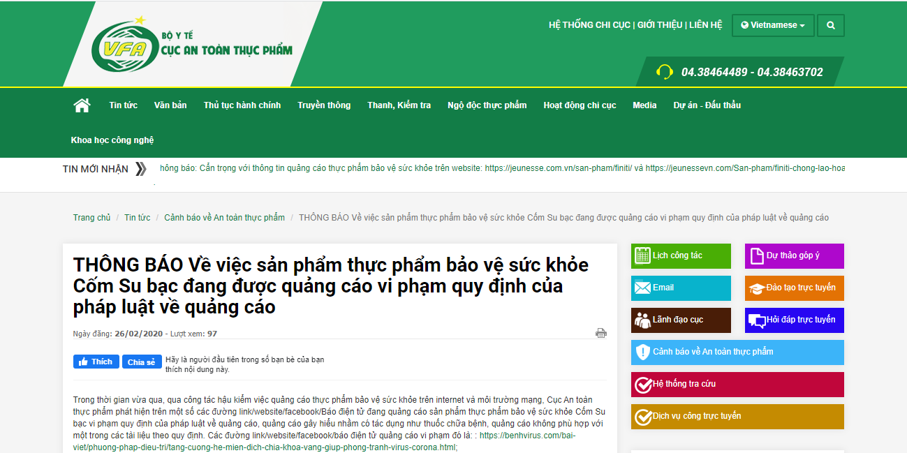 Cẩn trọng với thông tin quảng cáo sản phẩm Cốm Su bạc trên mạng