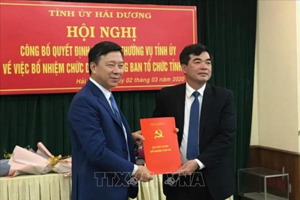 Bổ nhiệm lãnh đạo Ban Tổ chức Tỉnh ủy Hải Dương, Công an Hà Tĩnh