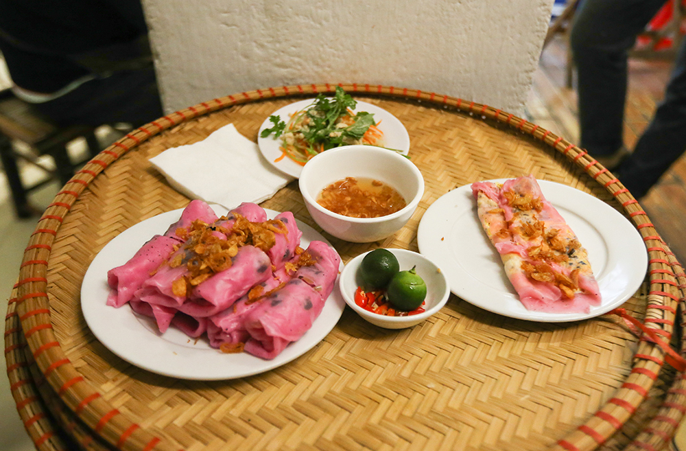 Thanh Tri steamed roll rice pancakes made from red dragon fruit