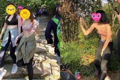 Cô gái trẻ phạm sai lầm lớn khi mặc áo lót thể thao, quần gym đi trèo đèo lội suối