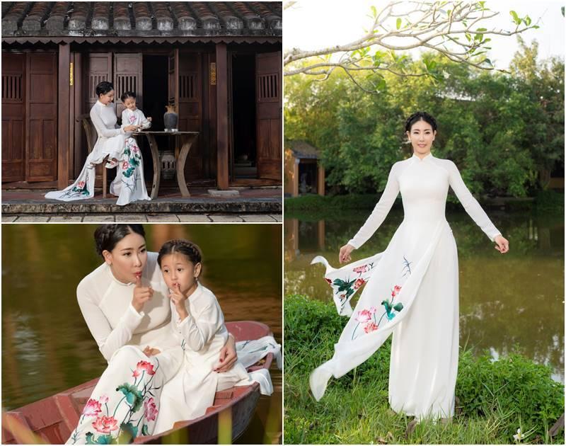 Hà Kiều Anh và con gái thướt tha áo dài