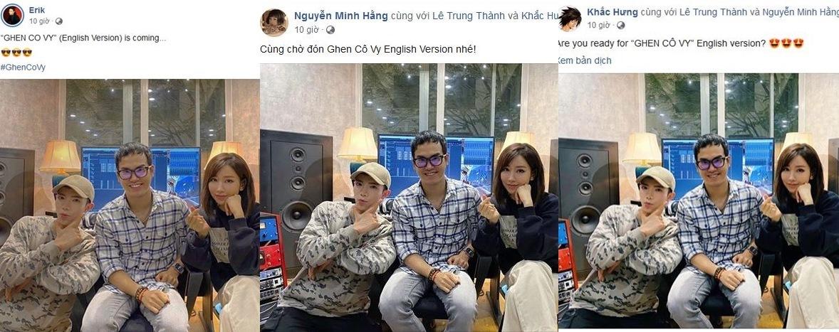 'Ghen Cô Vy' của Khắc Hưng, Min, Erik sắp ra mắt bản tiếng Anh