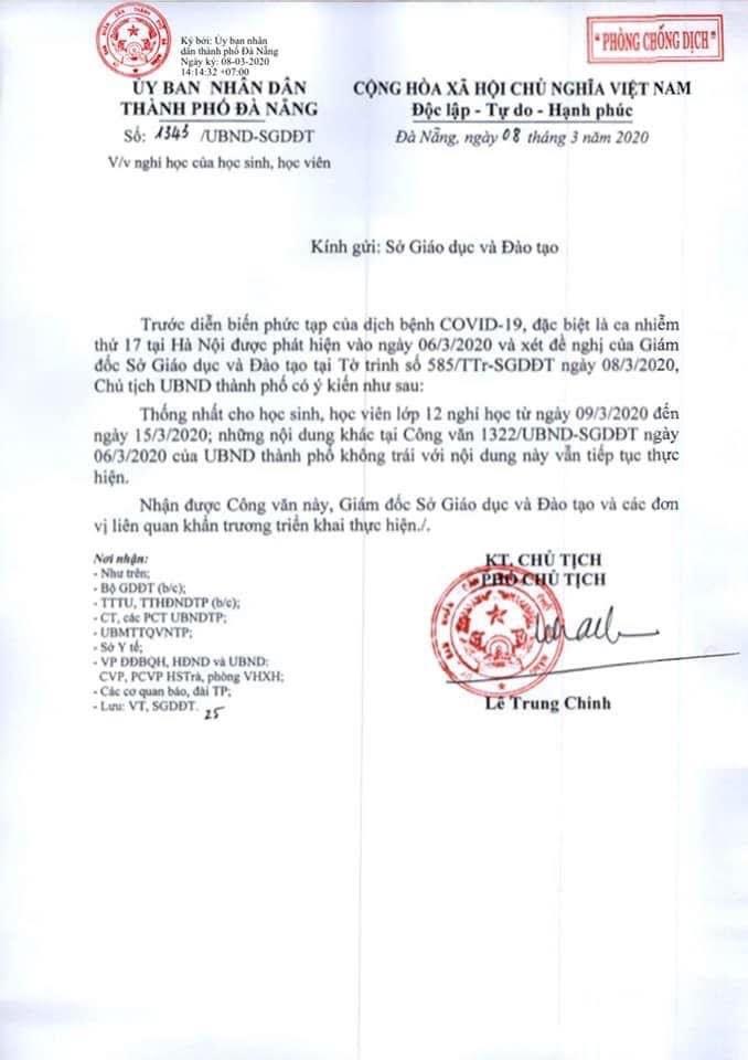 Quảng Ninh, Huế, Đà Nẵng cho tất cả học sinh THPT tiếp tục nghỉ học
