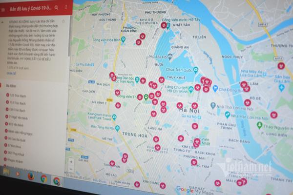 Thận trọng với bản đồ tự tạo về nghi nhiễm Covid-19 ở Hà Nội