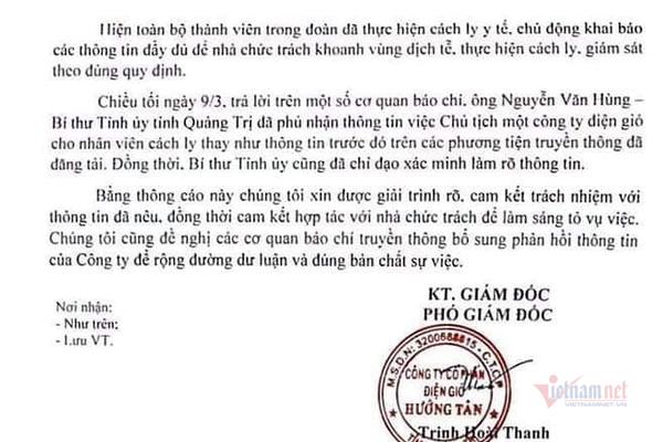 Công ty điện gió 'mượn lời' Bí thư Quảng Trị phủ nhận đánh tráo cách ly
