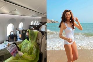 Thanh Hằng diện bikini, Quế Vân trùm áo mưa kín mít trên máy bay