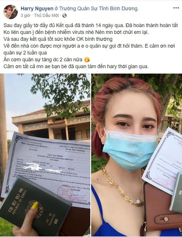 Cô gái livestream 'trốn cách ly' được về nhà, khoe tăng 2kg