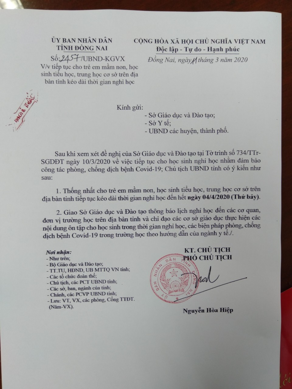 Học sinh Bình Thuận nghỉ đến khi có thông báo mới, Đồng Nai nghỉ sang tháng 4