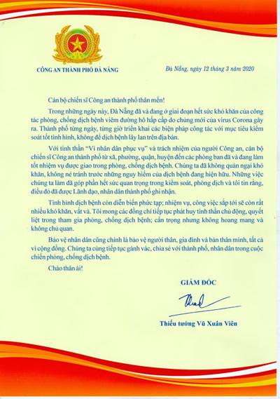 Giám đốc Công an Đà Nẵng gửi thư động viên cán bộ, chiến sĩ thời dịch Covid-19