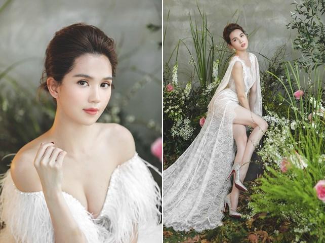 Diện đầm cưới, Ngọc Trinh hóa công chúa nữ tính dịu dàng