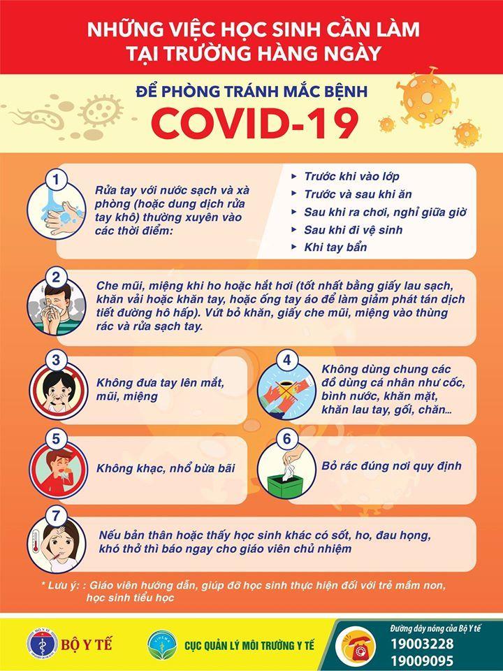 Những việc học sinh cần làm để phòng tránh Covid-19