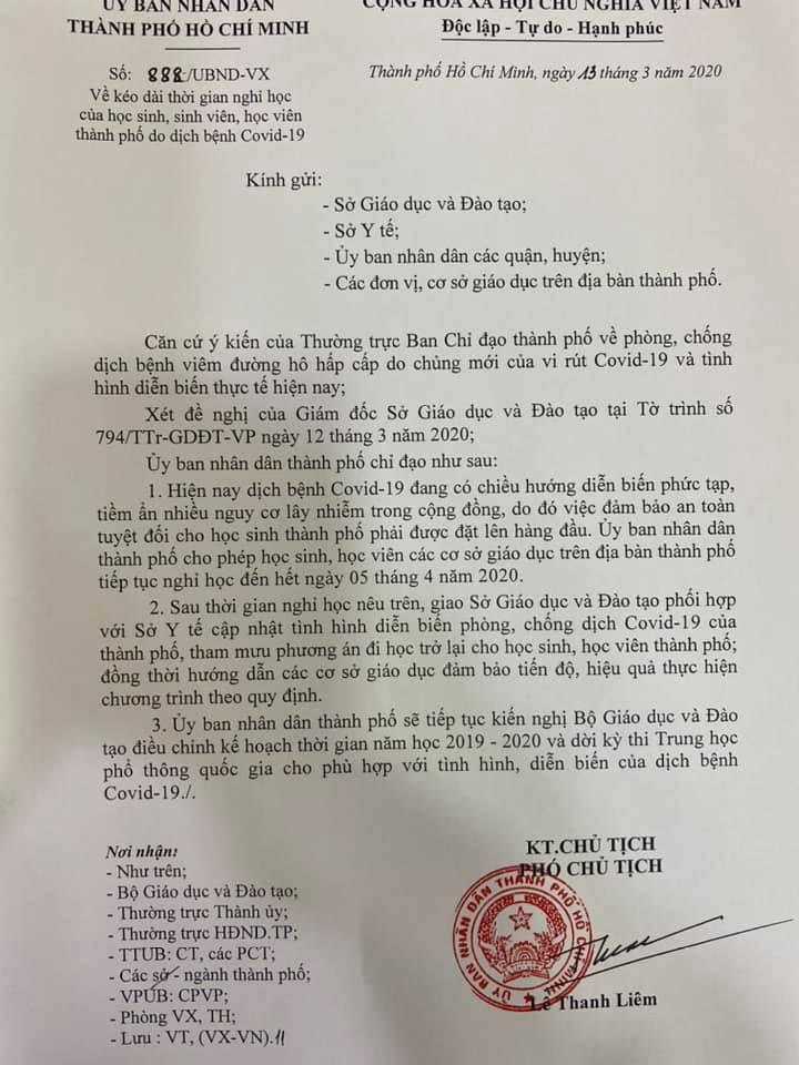 TP.HCM tiếp tục nghỉ học đến tháng 4, Hà Nội nghỉ hết 29/3 tránh Covid-19