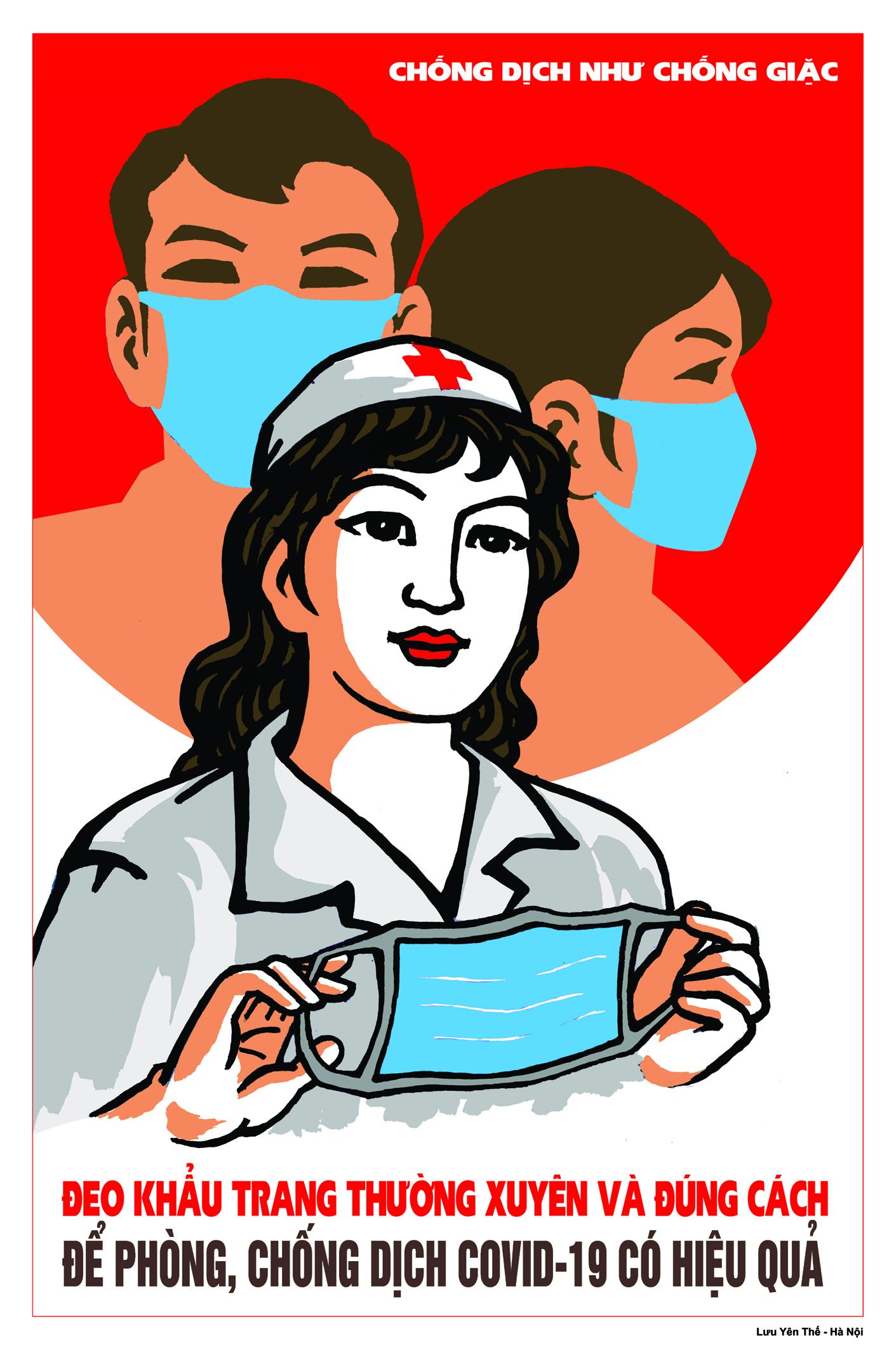 Hào hứng sáng tác tranh cổ động phòng chống dịch Covid-19
