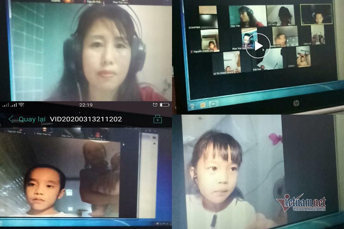 Cô trò tiểu học với học trực tuyến