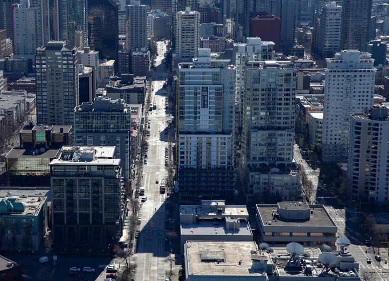 Hình ảnh đô thị Mỹ vắng lặng như 'thành phố ma' vì Covid-19