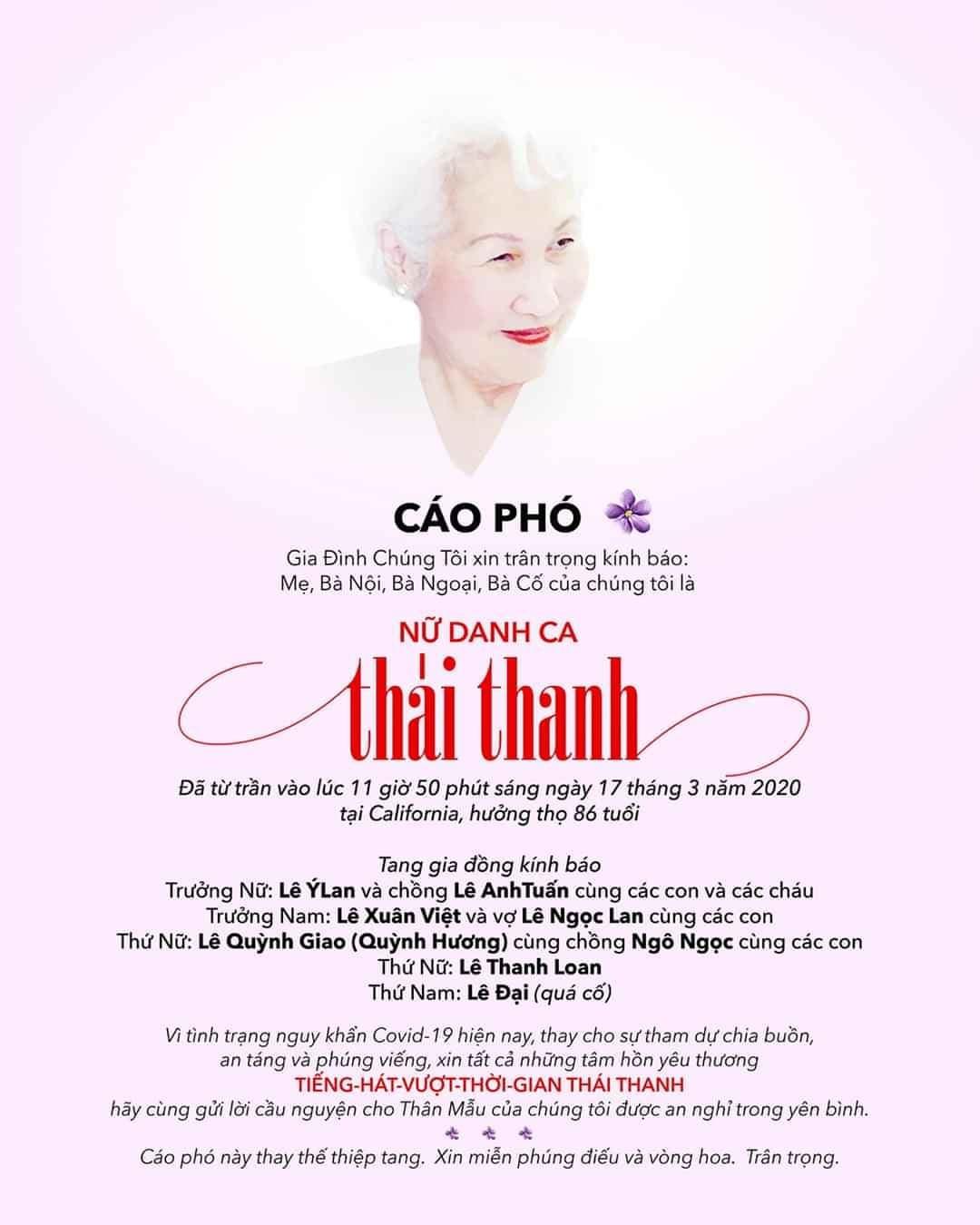 Gia đình không tổ chức lễ viếng danh ca Thái Thanh vì Covid-19