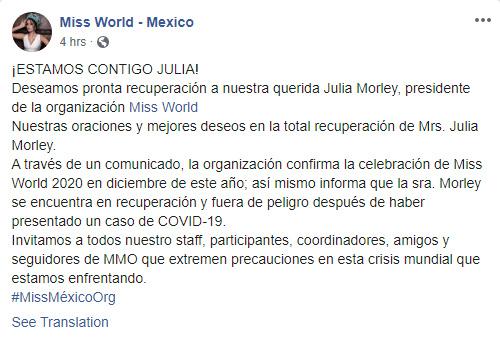 Julia Morley,Hoa hậu Thế giới