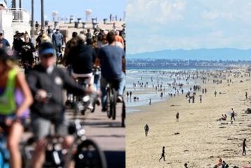 Bãi biển, công viên California đông nghịt bất chấp lệnh trú ẩn phòng Covid-19