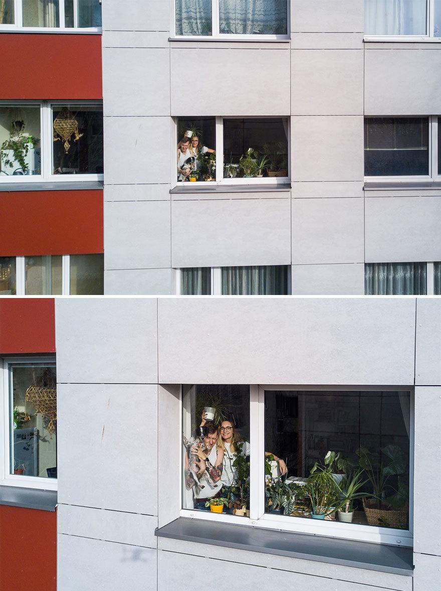 Nhiếp ảnh gia chụp khoảnh khắc cách ly vui vẻ tại nhà bằng flycam