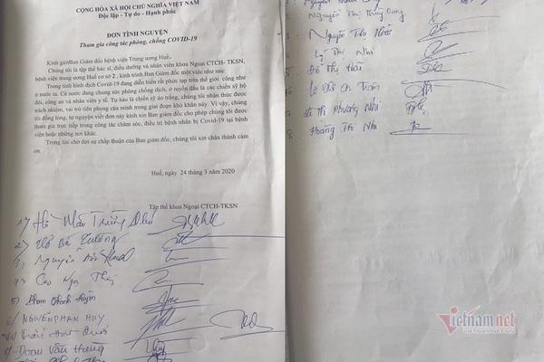 Xúc động đơn tình nguyện chiến đấu 'giặc Covid-19' của 18 y bác sỹ ở Huế