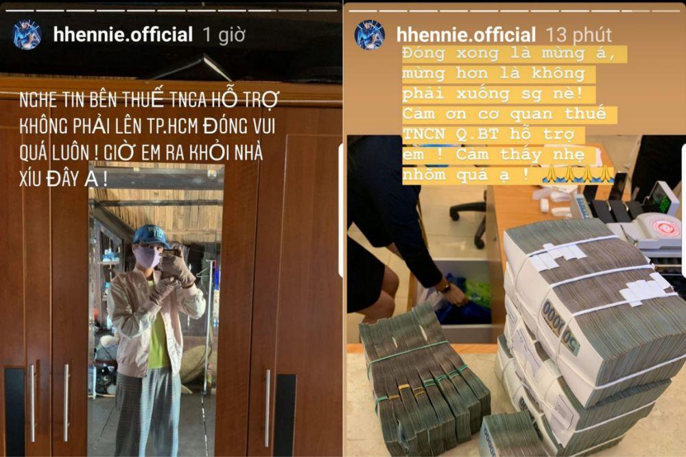 H'Hen Niê mang 5 chồng tiền đi đóng thuế thu nhập