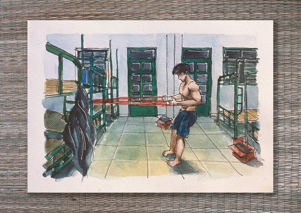 Chàng trai kể cuộc sống chân thực trong khu cách ly qua tranh vẽ