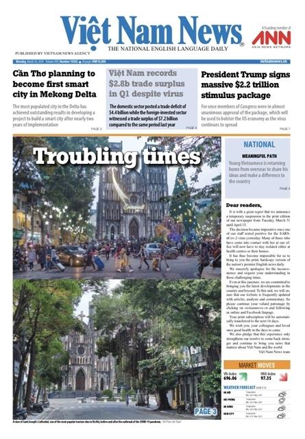 Việt Nam News dừng xuất bản báo in đến 15/4 vì phóng viên nhiễm Covid-19
