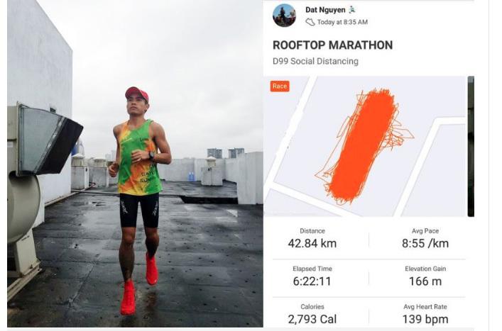 Runner chạy marathon tầng thượng chung cư và thông điệp mùa dịch Covid-19