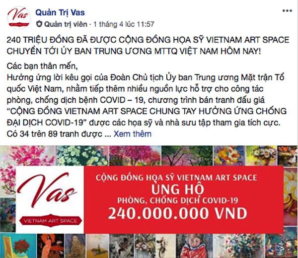 Hoạ sĩ khắp nơi bán đấu giá tranh online, ủng hộ 240 triệu đồng chống dịch