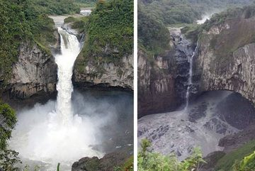 """Hố """"tử thần"""" bí ẩn làm thác nước lớn nhất Ecuador biến mất sau một đêm"""