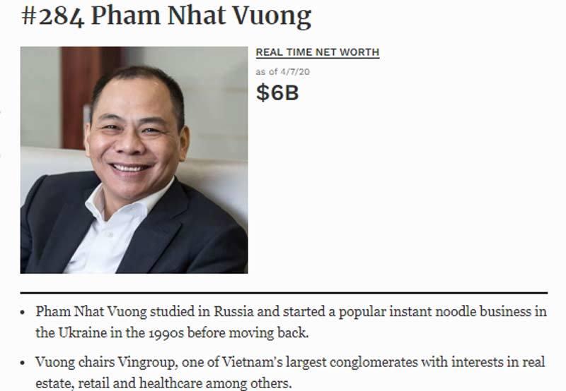Tỷ phú Phạm Nhật Vượng lấy lại 3,7 tỷ USD, ông Hồ Hùng Anh hồi sức tỷ đô