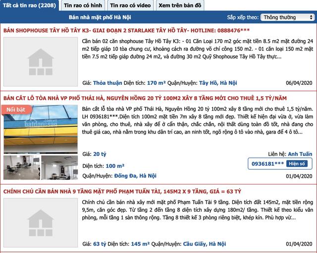 Hàng loạt chủ nhà rao bán nhà phố mặt tiền trung tâm với giá 'giật mình'