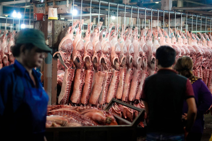 Nguồn cung thịt lợn đổ về các chợ đầu mối đang giảm mạnh