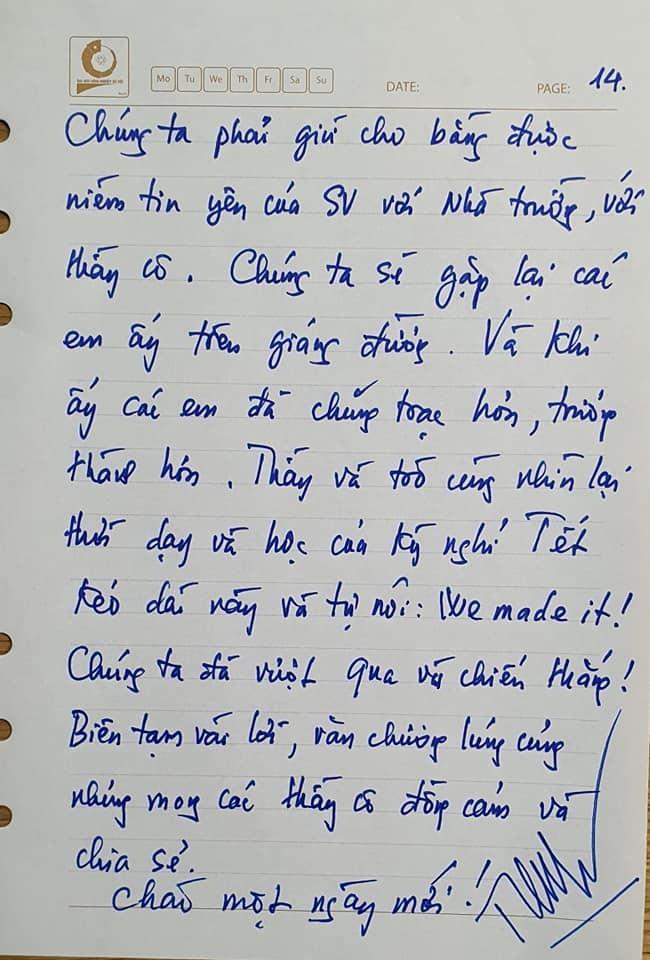 Viết thư tay 14 trang về dạy online, thầy hiệu trưởng được 'thả tim' rần rần