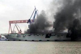 Hình ảnh tàu tấn công đổ bộ TQ bốc cháy ngùn ngụt