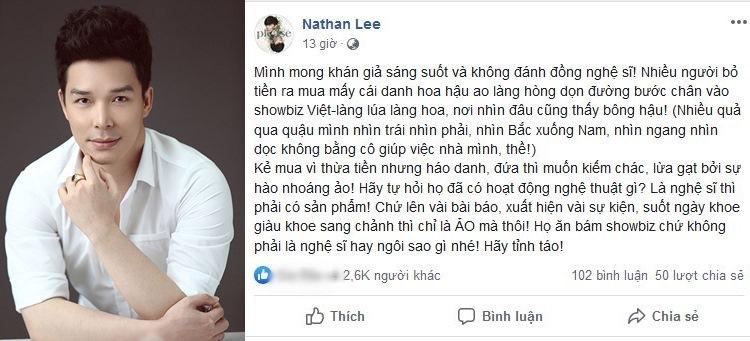 Hoa hậu Thu Hoài phản pháo phát ngôn 'động chạm' của Nathan Lee