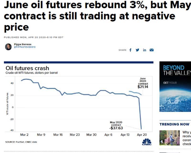 Lần đầu tiên trong lịch sử, giá dầu xuống dưới 0 USD/thùng