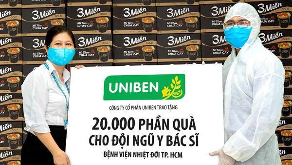 150.000 bữa ăn dinh dưỡng Uniben tặng y bác sĩ tuyến đầu chống dịch