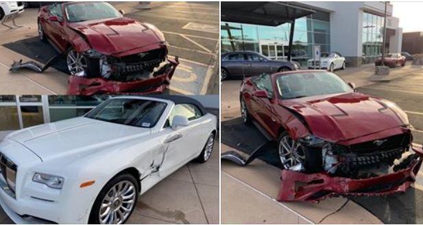Tài xế Ford Mustang đạp nhầm chân ga tông móp xe Rolls Royce mới tinh