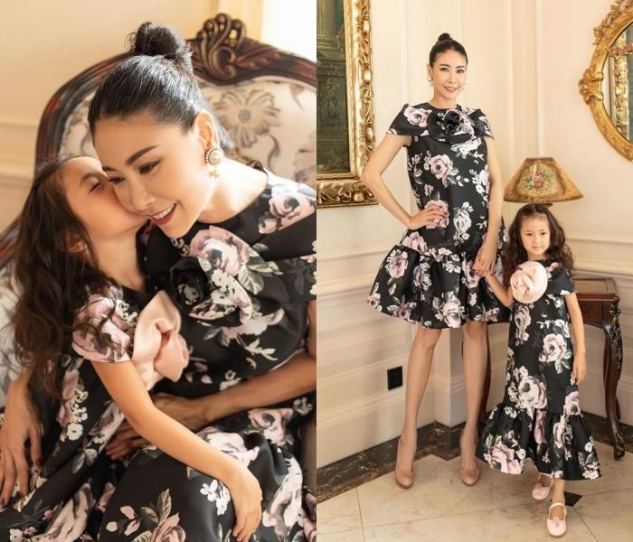 Hà Kiều Anh rạng rỡ mặc váy đôi cùng con gái