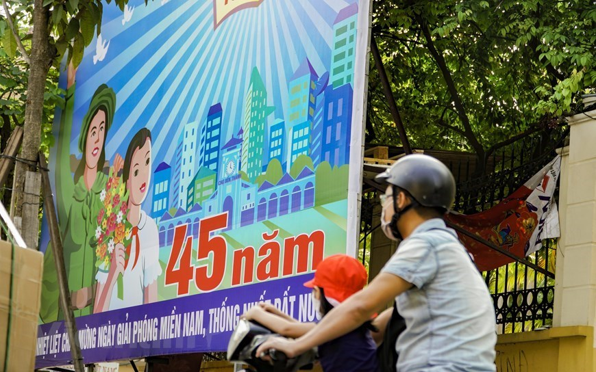 Reunification day,30/4,hanoi street,posters