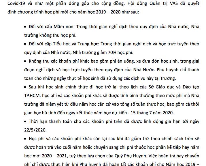 Trường Việt Úc giảm học phí sau phản ánh của phụ huynh