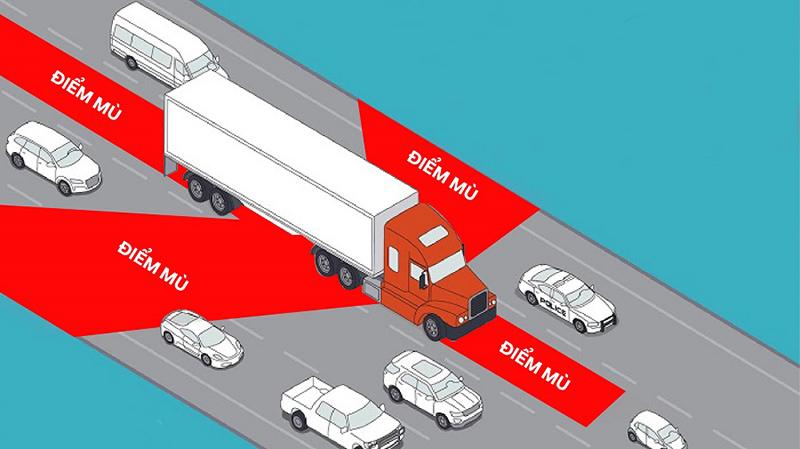 Đi vào điểm mù xe tải, chủ xe con bất lực chịu trận