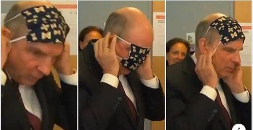 Phó thủ tướng Bỉ chật vật, không biết cách đeo khẩu trang