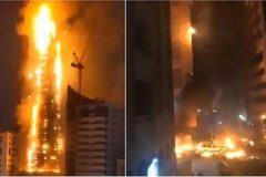 Lửa rực cháy trên cao ốc chọc trời ở UAE