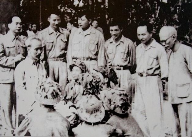 President Ho Chi Minh, General Vo Nguyen Giap, leaders of Dien Bien Phu Campaign