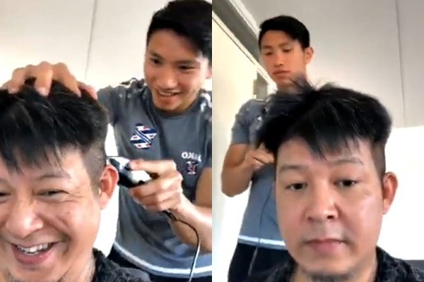Đoàn Văn Hậu trổ tài cắt tóc điệu nghệ