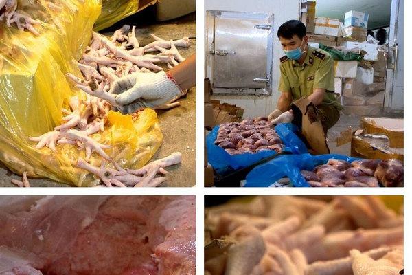 Hà Nội: 6 tấn nầm lợn, dạ dày bẩn, chân gà ngả đen chuẩn bị đi tiêu thụ